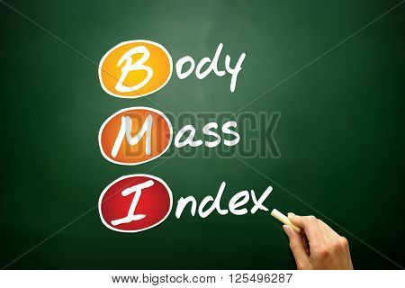 Body Mass Index (BMI) concept acronym on blackboard