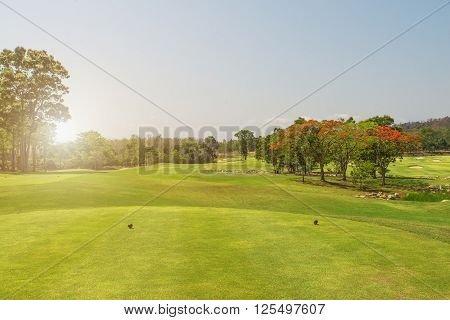 beautiful golf course tee box in early morning