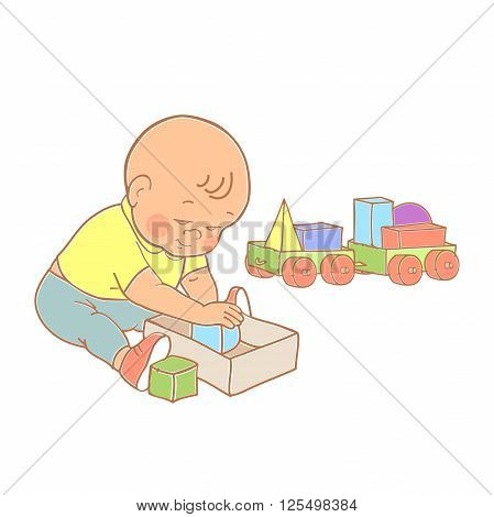Little lovely baby boy playing with toys. Kid plays with constructor train from geometric shapes. Kid builds house from cubes. Colorful vector illustration