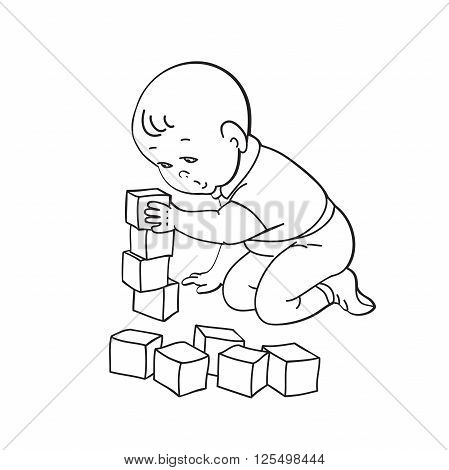 Little lovely baby boy playing with toys. Kid plays with pyramid. Kid builds house from cubes. Drawing contour vector illustration. Black and white background