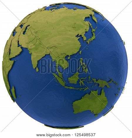 Asia on detailed model of planet Earth with visible country borders on green land and waves on the ocean waters. 3D RenderingIllustration isolated on white background.