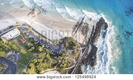 Aerial view of Snapper Rocks and Rainbow Bay beach