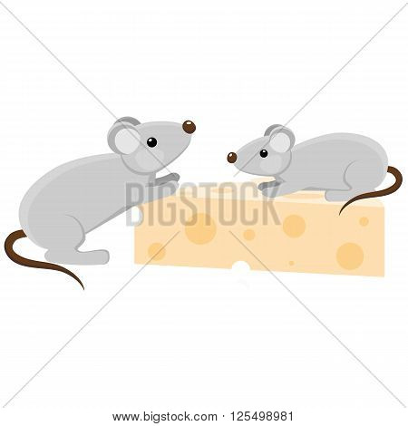 Two grey mouses with a piece of cheese. Cartoon style