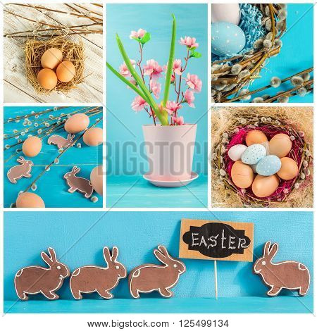 Festive composition of Easter eggs rabbit and willow branches. Collage of several photos.