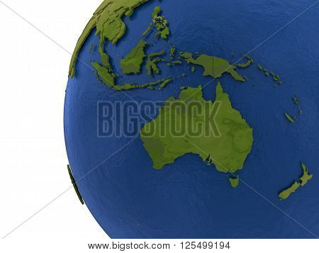 Australasia on detailed model of planet Earth with visible country borders on green land and waves on the ocean waters. 3D Rendering