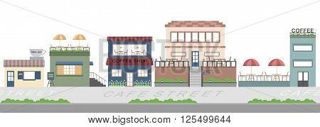 cafe street coffeeshop business  flat background illustration