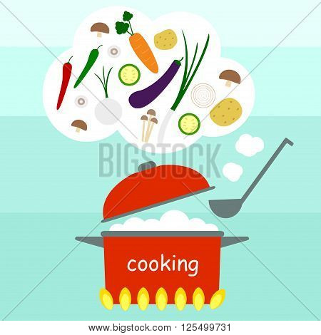 cook cooking vegetable soup with pot gas stoove
