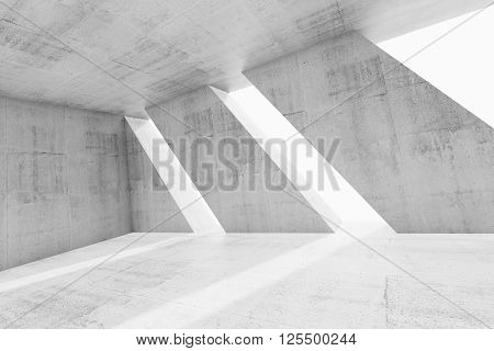 Abstract White Empty Concrete Room Interior