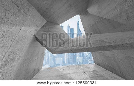 3D Interior With Futuristic Cityscape Outside