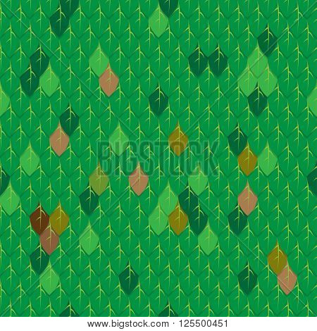 Green and brown leave in the forest seamless pattern