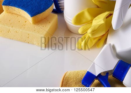 Professional Cleaning Equipment On White Table Elevated View