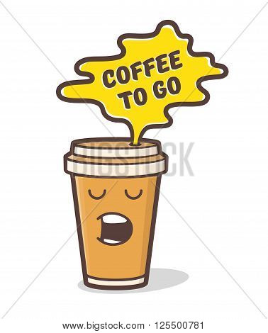 Coffee to go design for tee. Cartoon comic coffee cup character. Disposable paper take-out coffee mug icon. Coffee time doodle illustration with text. Vector illustration.