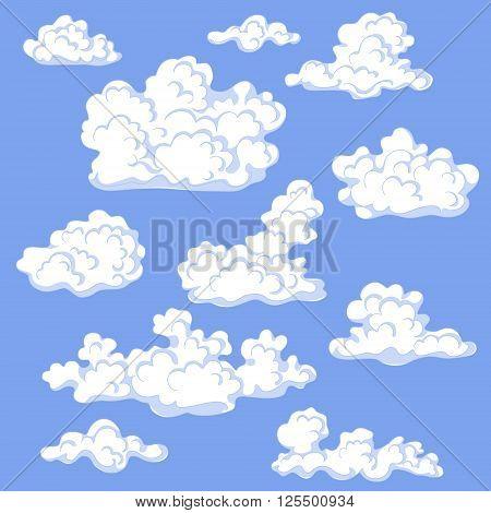 White cumulus cloud set. Blue sky with cumulus clouds.