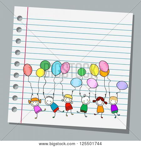 notebook paper happy kids with balloons