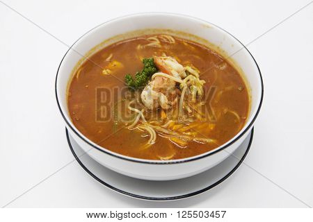 Tasty fresh spicy Thai soup Thai food Tom yam kung or Tom yum