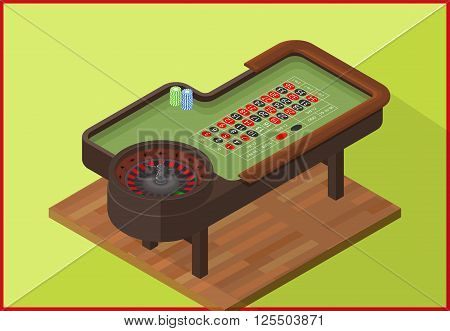 Roulette gambling table isometric flat vector 3d illustration. Poker Chips on a gaming with casino roulette. Casino concept.