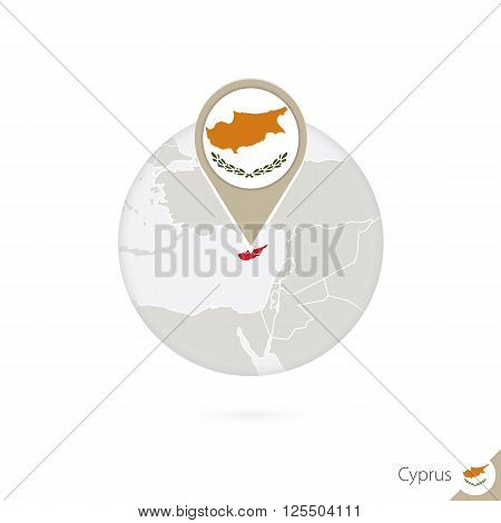 Cyprus Map And Flag In Circle. Map Of Cyprus, Cyprus Flag Pin. Map Of Cyprus In The Style Of The Glo