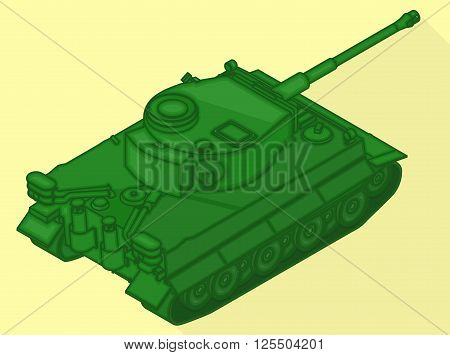 Tank isometric flat vector 3d illustration. War machine flat pictogram. Tank sign.