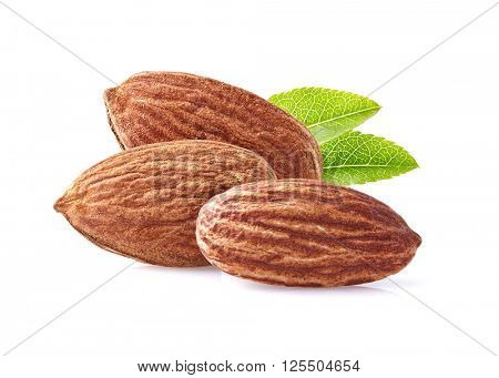 Almonds kernel with leaves