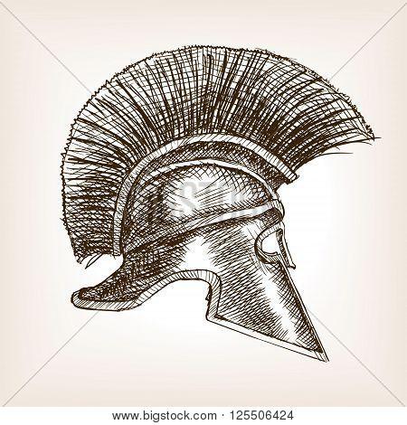 Spartan helmet sketch style vector illustration. Old hand drawn engraving imitation.