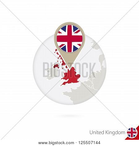 United Kingdom Map And Flag In Circle. Map Of United Kingdom, United Kingdom Flag Pin. Map Of United