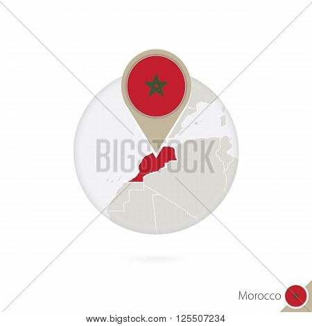 Morocco Map And Flag In Circle. Map Of Morocco, Morocco Flag Pin. Map Of Morocco In The Style Of The