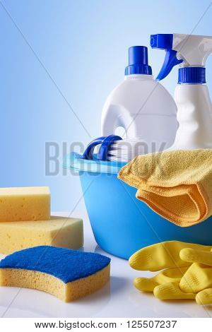 Professional Cleaning Equipment On White Table Overview Vertical Composition