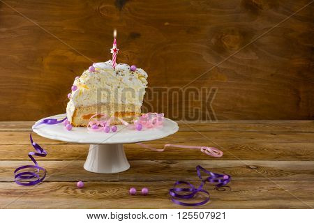 Birthday meringue cake on the wooden table place for text. Birthday Cake. Meringue cake. Pavlova. Birthday card