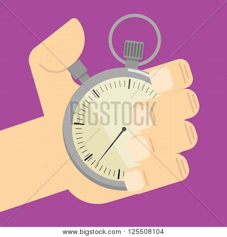Stopwatch in hand icon vector isolated. Colorful vector illustration.