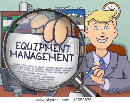 Man in Office Workplace Shows Paper with Text Equipment Management. Closeup View through Lens. Multicolor Doodle Style Illustration.