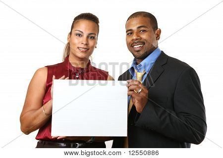 Business Couple With White Sign.