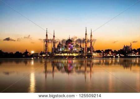 Crystal mosque in Kuala Terengganu in evening, Malaysia