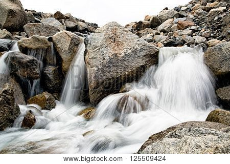 Small waterfall in Austria mountains in Tirol