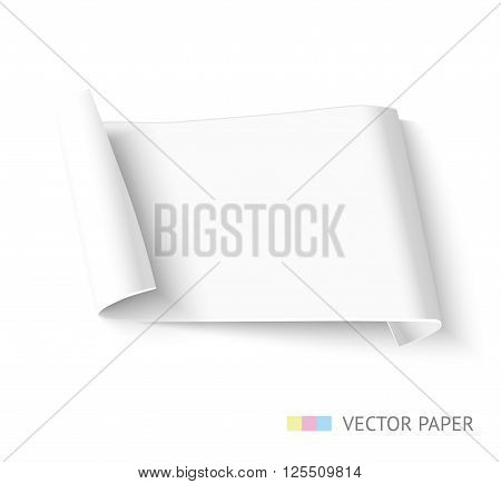 Curved vector white paper banner isolated on white. paper template for promotion and ad. Paper ribbon design