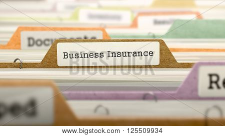 Business Insurance Concept on File Label in Multicolor Card Index. Closeup View. Selective Focus. 3D Render.