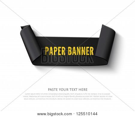Black curved paper ribbon banner with paper rolls and text isolated on white background. Realistic vector black paper ribbon with space for message