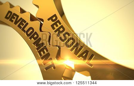 Personal Development on Mechanism of Golden Cog Gears. Personal Development - Concept. Personal Development on the Mechanism of Golden Gears with Lens Flare. 3D.