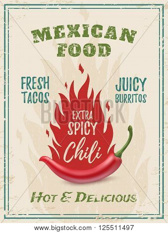 Extra spicy chili paper with fire, on grunge background. Template for restaurant, cafe, bar or fast food poster, brochure or flyer. Vector illustration.