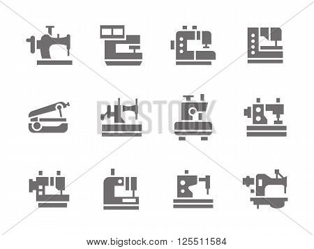 Sewing tools and equipment. Sewing machines. Dressmaking industry. Equipment for workshop and hobby.  Set of simple gray glyph style vector icons. Web design elements for mobile app, site or business.