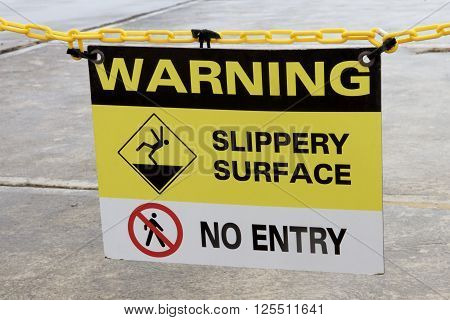Warning Sign: Slippery surface and no entry