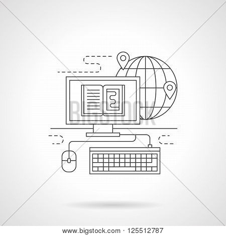 Distance education concept. Computer media, abstract globe with pin. Global networking information process. Single detailed flat line vector icon. Web design elements for business, site, mobile app.