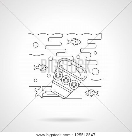 Underwater world with a treasures. Seabed with antique amphora and fishes. Sea recreation and diving. Single detailed flat line style vector icon. Web design elements for business, site, mobile app.