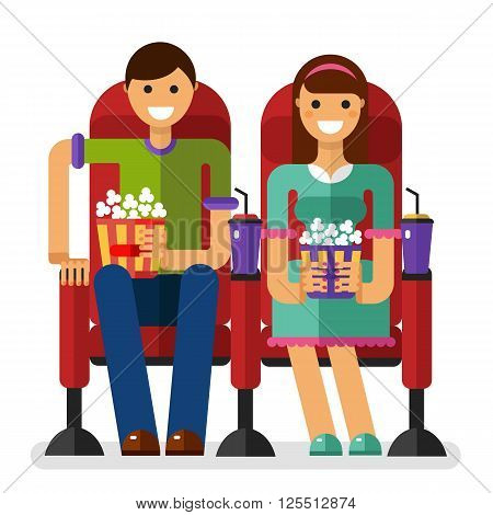 Vector flat style illustration of young smiling girl and boy in the cinema with popcorn and soda watching movie. People, couple, date in the cinema concept isolated on white background.