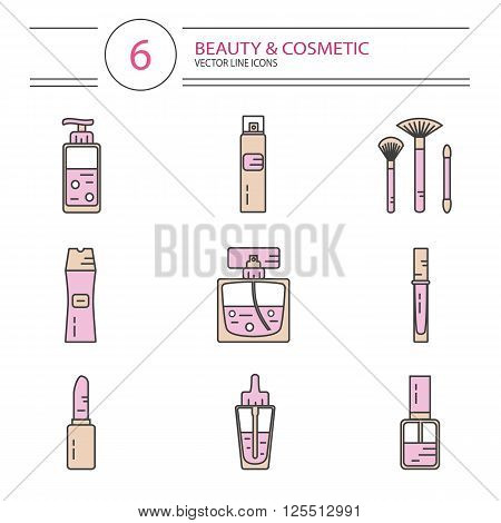 Vector modern line style color icons set of beauty, makeup and cosmetics products. Perfume bottle, shampoo, lipstick, lip gloss, nail polish, brushes, hair spray or deodorant spray, oil.