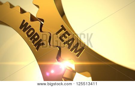 Golden Gears with Team Work Concept. Team Work - Concept. Team Work - Industrial Design. Team Work on the Mechanism of Golden Cog Gears. Team Work - Illustration with Lens Flare. 3D Render.