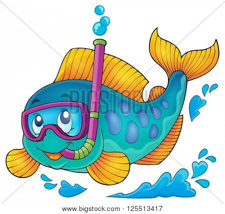 Fish snorkel diver theme image 1 - eps10 vector illustration.