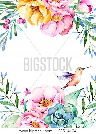 Beautiful watercolor card with place for text with roses, flowers, foliage, succulent plant, branches, hummingbird.