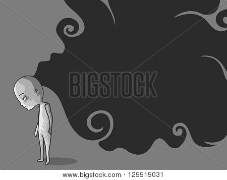 Illustration of a Depressed Man Leaving Behind a Trail of Dark Thoughts