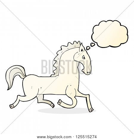 cartoon running white stallion with thought bubble