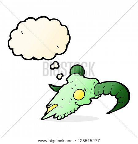cartoon magic ram skull with thought bubble